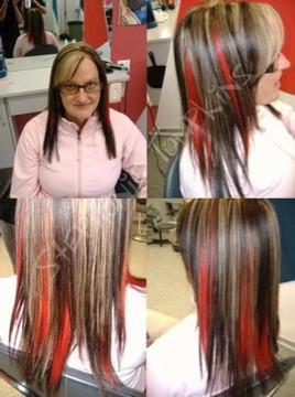 highlights and red peekaboos