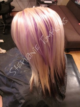solid blonde solid brown and purple streak lighter solid base